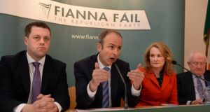 Fianna Fáil leader Micheál Martin launching the party's European election manifesto. The party leader authorised the initial approach for Mary Hanafin to stand in the local election