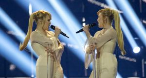 Anastasia and Maria Tolmachevy of the Tolmachevy Sisters from Russia perform on stage during the first semi final of the Eurovision Song Contest in Copenhagen, Denmark. Photograph:  Ragnar Singsaas/Getty Images