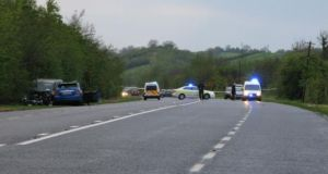 The scene of the fatal crash in Co Monaghan on Monday evening.