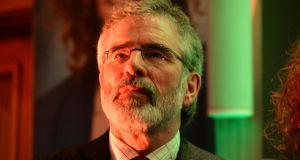 Gerry Adams TD, leader of Sinn Féin, attending an election rally  in the Alexander Hotel, Dublin last night. Photograph: Dara Mac Dónaill / The Irish Times