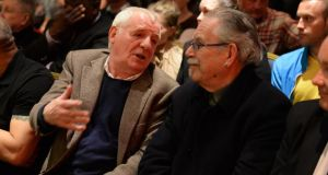 Broadcaster Eamon Dunphy and artist Robert Ballagh attending the Sinn Féin election rally held in the Alexander Hotel, Dublin last night. Photograph: Dara Mac Dónaill/The Irish Times