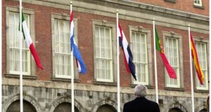 Europe's flags in Dublin Castle. photograph: alan betson/the irish times