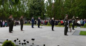 President Michael D Higgins participates in the commemoration ceremony. Photograph: Dara Mac Dónaill/The Irish Times