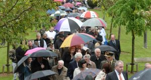 Crowds at the commemoration of the 1916 leaders at Arbour Hill, Dublin, today. Photograph: Dara Mac Dónaill/The Irish Times