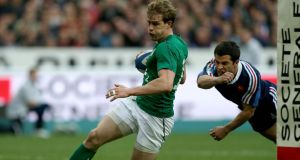 "Andrew Trimble scores Ireland's second try against France in Paris. ""To win this award just means the world to me."" Photo: Dan Sheridan/Inpho"