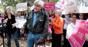 Comedian Jay Leno speaks during a rally protesting against Brunei's new strict sharia law penal code outside the Beverly Hills Hotel, which is owned by the Sultan of Brunei, in Beverly Hills, California. Photograph: Reuters