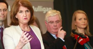 Labour deputy leader and Minister for Social Protection Joan Burton, Tánaiste Eamon Gilmore and Dublin West byelection candidate Loraine Mulligan at the latter's campaign launch yesterday in Castleknock. Photograph: Laura Hutton/Photocall Ireland