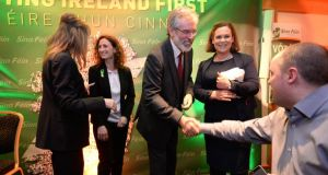 Sinn Féin European election candidate for Dublin Lynn Boylan (second left) said the arrest of party president  Gerry Adams (centre) had not negatively affected her campaign. Photograph: Dara Mac Dónaill/The Irish Times.