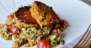 Carrot & Mint Cakes with Carrot Tabouleh. Photograph: Alan Betson