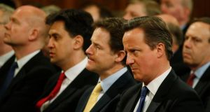 Labour leader Ed Miliband, Lib Dems leader and deputy prime minister Nick Clegg and Conservative leader and prime minister David Cameron are a mere 12 months away from testing their popularity at the polls. Photograph: Lefteris Pitarakis/PA