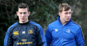 Noel Reid and Brendan Macken: two of the younger players who will come into consideration to fill the Leinster number 13 jersey. Photograph: Inpho.