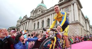 Nicolas Roche of Ireland and Tinkoff-Saxo during the team presentations for the Giro D'Italia at the City Hall, Belfast. Photograph: Niall Carson/PA Wire