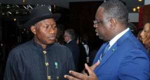 President of Nigeria Goodluck Jonathan (L) and President of Senegal Macky Sall  at the World Economic Forum on Africa in Abuja, Nigeria. Photograph: EPA/STR