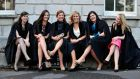 Kate Hogan from Kilkenny, Kady O'Connell from Dublin, Niamh Rogers from Donegal, Laura O'Sullivan from Wexford, Laura Cullinan from Dublin and Avril Molloghan from Longford, in Blackhall Place yesterday, where they received parchments as solicitors. Photograph: Aidan Crawley