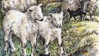 Spring in their step: lambs playing together. Illustration: Michael Viney