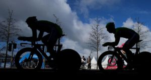 Giro D'Italia riders during a training session on stage one of the 2014 Giro D'Italia. Photograph:  Niall Carson/PA Wire