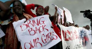 A protest demanding security forces to search harder for 230 plus schoolgirls abducted by Islamist militants. Photograph: REUTERS/Afolabi