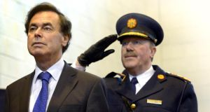 'The Secretary General of the Department of Justice was asked by the Taoiseach, rather than the Minister for Justice, to visit the Garda Commissioner who then resigned the following morning.' Above,   Alan Shatter  with Commissioner Martin Callinan during Templemore Garda College  50th anniversary celebrations earlier this year. Photograph: Brenda Fitzsimons
