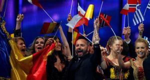 'In north-western parts of our continent, the Eurovision Song Contest  has been enjoyed as a roaring joke for at least a third of its 58 years.' Above,  singers celebrate on the stage after the second semifinal of the Eurovision Song Contest on Thursday. Photograph: Frank Augstein/AP