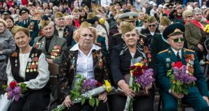 Veterans attend a ceremony to commemorate victims of the second World War in Donetsk on Ukraine's Victory Day holiday yesterday. Photograph: Brendan Hoffman/Getty Images