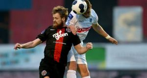Ryan McEvoy of Bohemians and UCD's Robbie Creevy during the 0-0 stalemate at Dalymount Park. Photograph: Ryan Byrne/Inpho