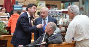 Senator Rónán Mullen and Senator Fergal Quinn in Navan shopping centre  canvassing for votes for Mr Mullen  in the European elections. Photograph: Alan Betson