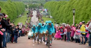 The Astana team make their way up the hill towards Stormont in Friday's Giro d'Italia time trial stage in Belfast. Photograph: Morgan Treacy/Inpho