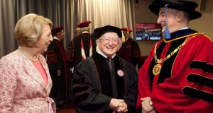 President Michael D. Higgins pictured with his wife Sabina and president McRobbie of Indiana University at the university yesterday.  Photograph: Shane O'Neill/Fennell Photography