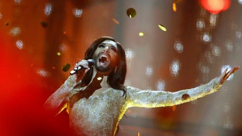 Conchita Wurst representing Austria repeats the song Rise Like a Phoenix after winning the grand final of the 59th Eurovision Song Contest at the B&W Hallerne in Copenhagen on May 10th, 2014. Photograph: Tobias Schwarz/Reuters