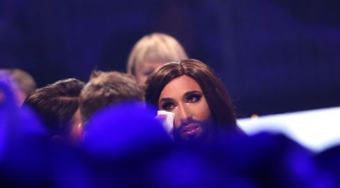 Conchita Wurst reacts tearfully after winning the  Eurovision.  Photograph: Joerg Carstensen/EPA