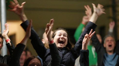 Conchita's win brings out the joy in Vienna. Photograph: Leonhard Foeger/Reuters