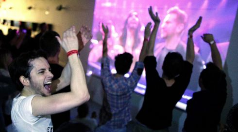 Conchita supporters in Vienna, Austria, go wild at her win. Photograph: Georg Hochmuth/EPA