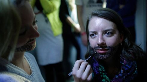 Supporters get bearded in Vienna on the night.  Photograph: Georg Hochmuth/EPA