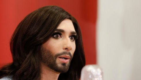 Conchita tells it like it was at a news conference in Vienna. Photograph: Leonhard Foeger/Reuters