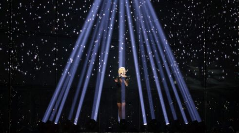 Sanna Nielsen representing Sweden performs during the final.  Photograph: Joerg Carstensen/EPA