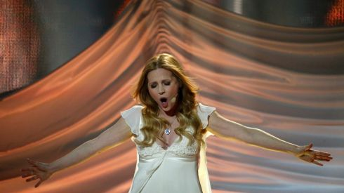 Singer Valentina Monetta representing San Marino performs the song Maybe (Forse) in the final.  Photograph: Tobias Schwarz/Reuters