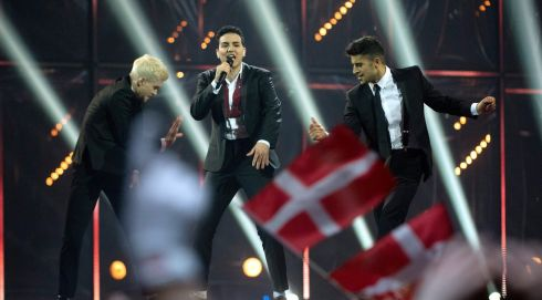 Basim representing Denmark during their performance. Photograph: Keld Navntoft/EPA