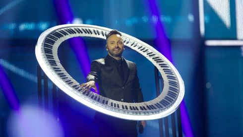 Ovi of Paula Seling & Ovi from Romania onstage. Graham Norton, commenting on the BBC, joked that the crazy keyboard would likely be found in a skip outside the venue directly after the Eurovision. Photograph: Ragnar Singsaas/Getty Images
