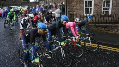 The Giro d'Italia pack makes it way from The Mall in Armagh en route to Merrion Square in Dublin  on May 11th, 2014. Here Orica GreenEdge's Michael Matthews in the Pink Jersey leads the peloton.  Photograph: William Cherry/Presseye/Inpho