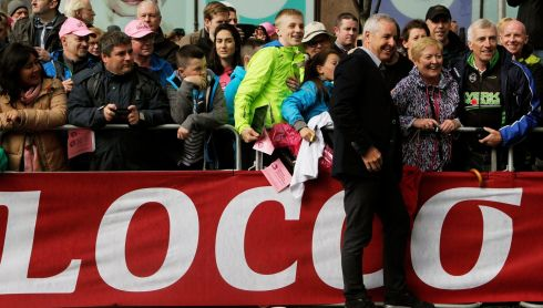 Stephen Roche, the first Irishman to win the Giro d'Italia, at the finish line of stage two in Belfast. Photograph: Brian Lawless/PA Wire