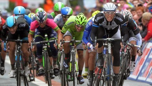 German rider Marcel Kittel (right) of the Giant-Shimano team on his way to winning the second stage of the 97th Giro d'Italia in Belfast on May 10th, 2014. Photograph: Luca Zennaro/EPA