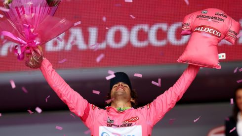 Michael Matthews claims the Pink Jersey.  Photograph: William Cherry/Presseye/Inpho