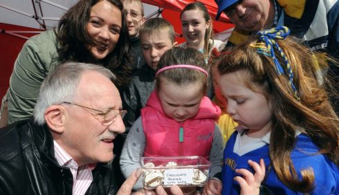 Michael O'Mahony of Rentokil tries to tempt Ailbhe Moynihan with some chocolate rounds - with ants. Photograph: Don MacMonagle