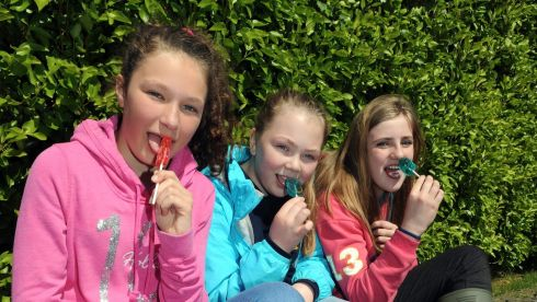 Shauna O'Donoghue, Rachel Kelly and Aileen Healy enjoying some of those alternative goodies. Photograph: Don MacMonagle