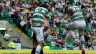 Celtic's Anthony Stokes scores a goal during a 3-1 victory on the final day of the season. Photograph:   Danny Lawson/PA Wire.