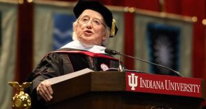 President Michael D Higgins, delivers the commencement speech at Indiana University in Bloomington, Indiana, US, yesterday. Photograph: Steve C Mitchell/EPA