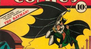 Detail from the cover of the first comic to feature Batman, Detective Comics from May 1939