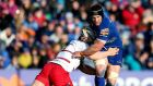 Seán O'Brien in action in  his comeback game for Leinster against Edinburgh last Saturday. Photograph: James Crombie/Inpho
