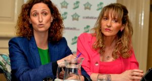 Sinn Féin's   European election candidates Lynn Boylan (left) and Martina Anderson at the launch of Sinn Fein's European election manifesto Dublin yesterday.  Photograph:  David Sleator/The Irish Times