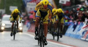 Vinny Fitzpatrick's pal Nicolas Roche leads his Tinkoff-Saxo team-mates across the line during the Team Time Trial of the  Giro D'Italia in Belfast. Photograph: Brian Lawless/PA Wire